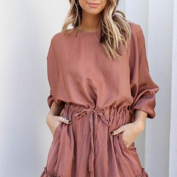 So Little Time Mocha Dress