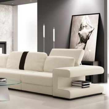 Classic Italian Moderna White and Black Bonded Leather Sectional Sofa