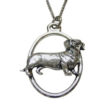 Dachshund Wiener Dog Large Oval Pendant Necklace
