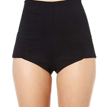 Black High Waisted Shorts with Zipper