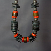 Statement necklace of Red Coral, Shell & Hematite, chunky tribal stone necklace