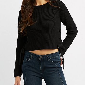 Lace-Up Cropped Pullover Sweater | Charlotte Russe