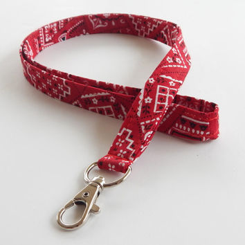 Bandana Lanyard / Red Bandanna / Western Keychain / Country Western / Key Lanyard / ID Badge Holder / Fabric Lanyard / Bright Red