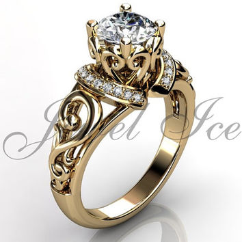 Engagement Ring - 14k Yellow Gold Diamond Unusual Unique Art Deco Filigree Scroll Engagement Ring Wedding Ring Anniversary Ring ER-1124-2