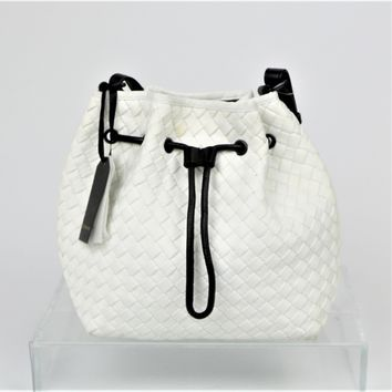 Golden Lane White Woven Bucket Bag