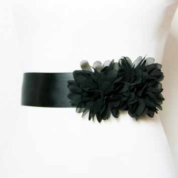 Black Chiffon Flowers Sash Belt - Bridal Wedding Dress Sashes Belts