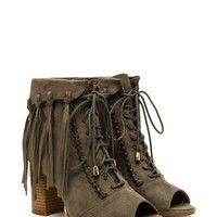 Fancy Fringe Chunky Lace-Up Booties