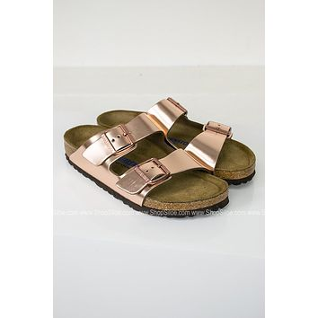 Arizona Metallic Copper Birkenstocks