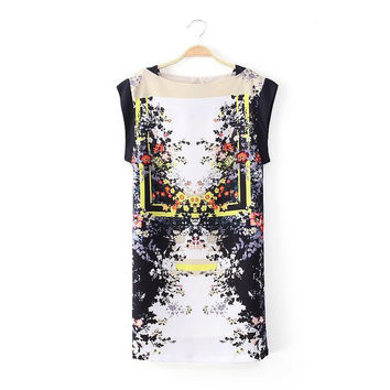 Summer Stylish Print Round-neck Sleeveless Slim One Piece Dress [5013235908]