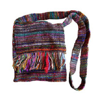 Recycled Silk Fringed Purse - Nepal