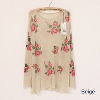 Beige Rose Flowers Print Ripped Distressed Sweater