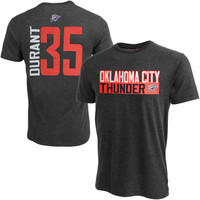 Mens Oklahoma City Thunder Kevin Durant Gray Vertical Name & Number T-Shirt