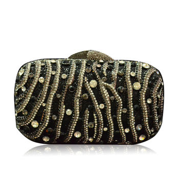 Zebra Rhinestone Black Crystal Clutch Wedding Purse Handbags