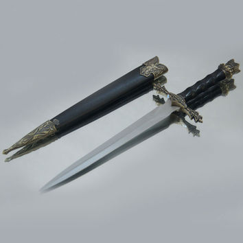 Beautifully Carved Medieval  Sword Stainless Steel Blades Short Small Sword Vintage Style