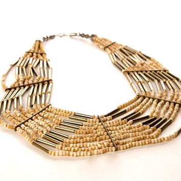 Ethnic Statement Bold Bib Necklace Multi-Strand Seed Beads and Brass Beaded Vintage Jewelry