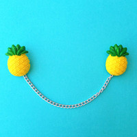 """Handmade """"Pineapple Surprise"""" Yellow and Green Pineapple Sweater Clips - Collar Pins - Collar Clips - Femme Fruit Collection"""