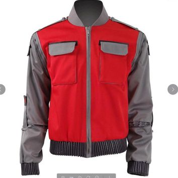 Cool 2018 Back To The Future Cosplay Costume Jr Marlene Seamus Marty McFly Jacket Orange Outwear Coat Movie Cosplay CostumeAT_93_12