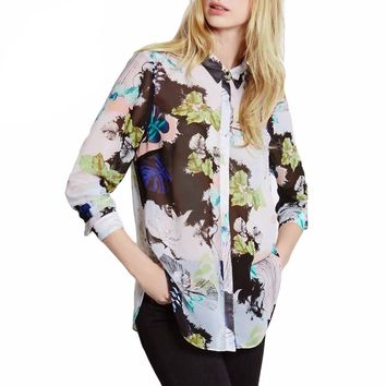 Fashion Women Chiffon Blouses Contrast Print Button Turn Down Collar Long Sleeves Semi-Sheer Shirt Women Tops Green