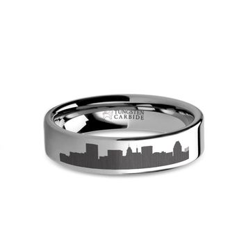Baltimore City Skyline Cityscape Laser Engraved Tungsten Ring