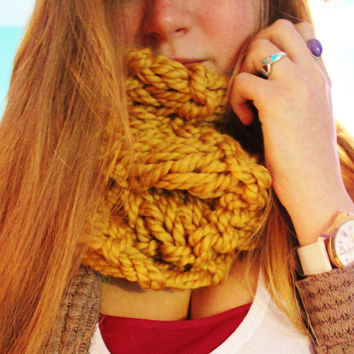 Golden Mustard Yellow Knitted Circle Scarf with Double Knit Loop Pattern, Chunky Cozy Fashion Neck Warmer