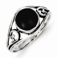 Sterling Silver Antiqued Black Agate Ring