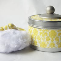 NEW - Fanciful Powder Tin  (SET)  Sunny Yellow (container, puff, dusting powder)