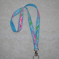 Preppy Let's Cha Cha Lilly Pulitzer Fabric Ribbon Lanyard