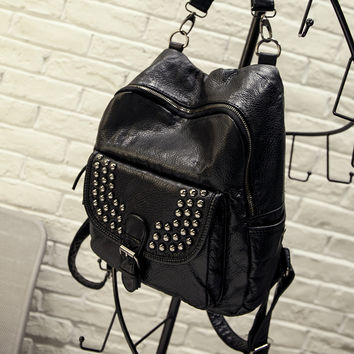 Studded Rivets Black Leather Backpack Daypack Travel Fashion Bag Motorcycle Fashion Bag