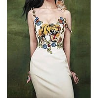 GUCCI Trending Women Sexy Stylish Tiger Embroidery Sleeveless Sling Dress