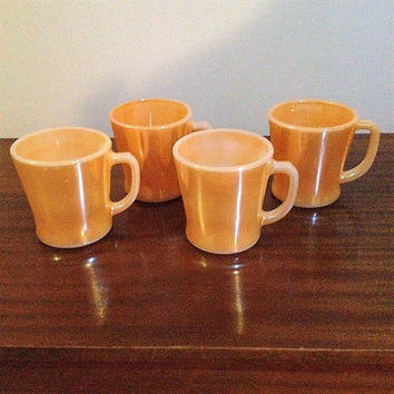 Vintage 1950s Set of Four (4) Anchor Hocking FIREKING Peach Lustre Mugs / Retro Coffee Mugs