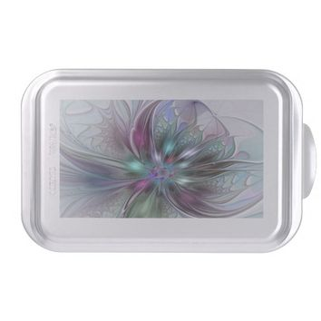 Colorful Fantasy, abstract and modern Fractal Art Cake Pan