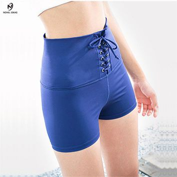 Yoga Shorts Novel ideas 2018 Womens Stretchy High Waitsed Hot Yoga Tie Shorts Blue Lulu Compression Gym Sports Workout Shorts