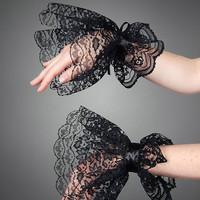 Black Lace Gloves Victorian Gothic Goth Armwarmers