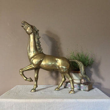 "22"" Large Brass Horse  / Vintage Brass Figurines / Brass Stallion Horse / Brass Horse Statue / Brass Statues / Vintage Brass Figurine"