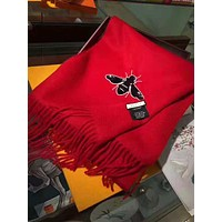 GUCCI Winter Fashion Couple Bee Embroidery Tassel Cashmere Cape Scarf Scarves Shawl Accessories Red
