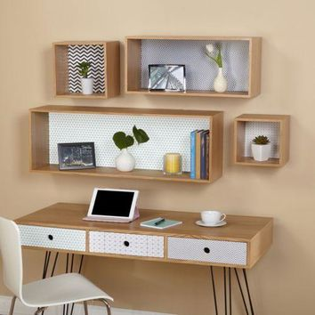 Cubby Wall Mount Storage Organizer Home Office Bookshelf Display Floating Shelf