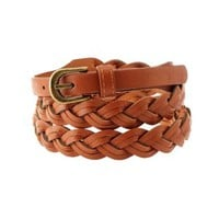 Cognac Braided Faux Leather Belt by Charlotte Russe