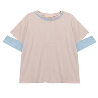 T-shirt with Contrast Striped Collar