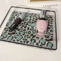 Mint Green glitter and Black Animal Print Clear Tray. jewelry, perfume, makeup organizer, silver vanity, home decor, acrylic tray
