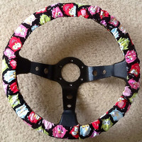 Multi color owl fabric steering wheel cover