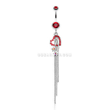 Shooting Heart Stars Belly Button Ring (Red)