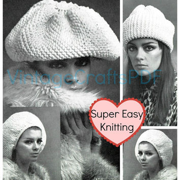 1970s Knitting Pattern | Toque and Beret Hats | Hair Accessories-Bohemian Clothing-Mod Clothing-Hippie Clothing-Rasta -knitting pattern- USA