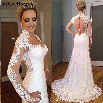 Sexy Long Sleeve Wedding Dresses 2017 Lace Vestidos De Noiva Cheap Summer Beach Spring Button See Through Mermaid Bridal Gowns