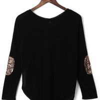 Black Sequined Elbow Patch Asymmetric T-shirt