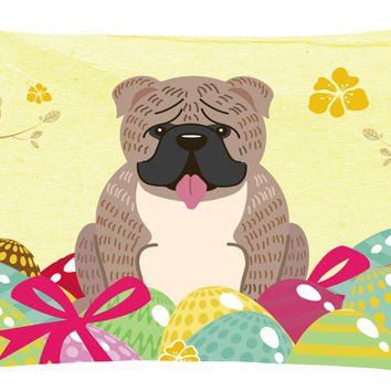 Easter Eggs English Bulldog Grey Brindle  Canvas Fabric Decorative Pillow BB6126PW1216