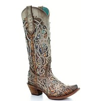 Corral Taupe Inlay and Studs Snip Toe Boots