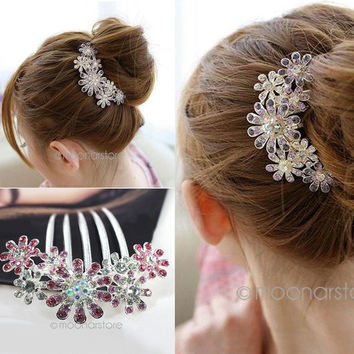 New Wedding Bridal Crystal Two Colors Petal Tuck Comb Flowers Hair Pin Clip = 1933098308