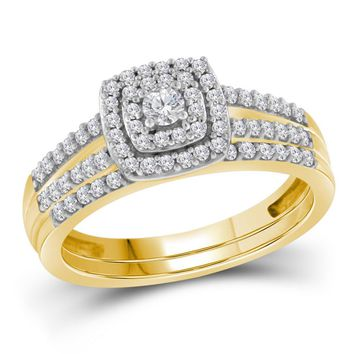 10kt Yellow Gold Womens Round Diamond Split-shank Bridal Wedding Engagement Ring Band Set 1/2 Cttw