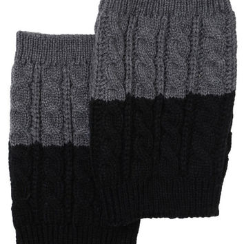 Women's Two Tone Black / Grey REVERSIBLE BOOT CUFF - Cable Knit Boot Sock Topper, Knitted Boot Cuffs
