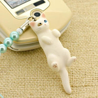 Pet Lovers Rare Hand-Made Cat Beads Cell Phone Jewelry Strap and Charm Vol. 7 (White Odd Eye)- 123-N-2706